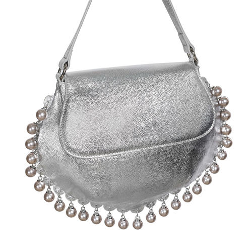 Side view of CHARMAINE sharp silver shoulder bag with pearls