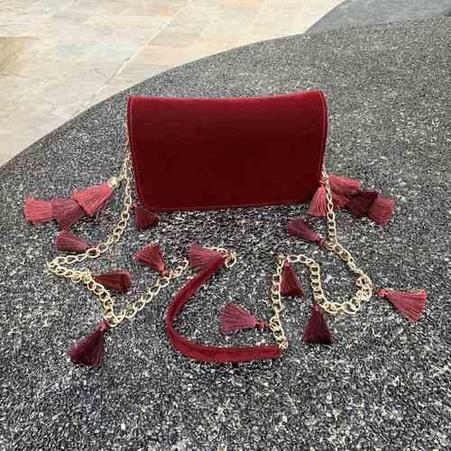 TASSIE burgundy velvet crossbody bag with tassels