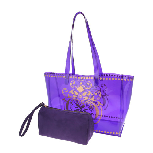 View of JEWEL transparent purple PVC tote bag with pouch removed