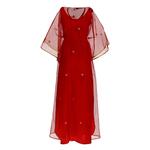 Back view of JEWEL red kaftan resort maxi dress set