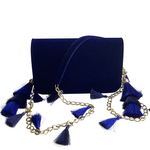 Front view of TASSIE royal blue velvet crossbody bag with tassels