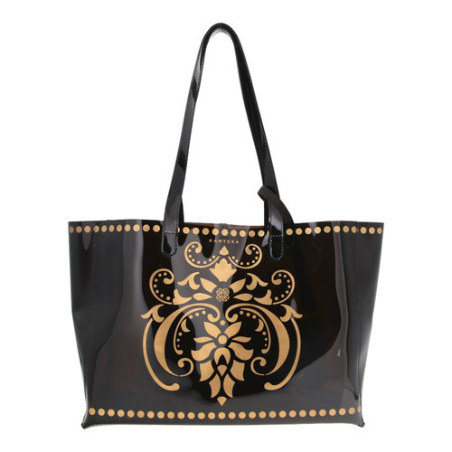 JEWEL black transparent PVC tote bag with removable pouch