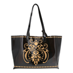 Front view of JEWEL transparent black PVC tote bag with pouch inside