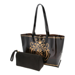 View of JEWEL transparent black PVC tote bag with pouch removed
