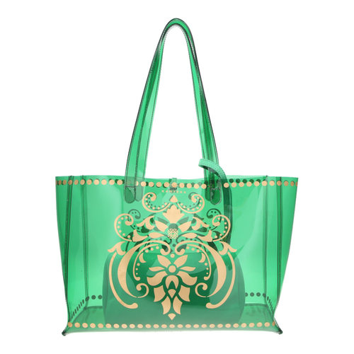 JEWEL transparent green PVC tote bag with removable pouch