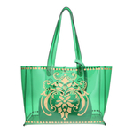 Front view of the JEWEL transparent green PVC tote bag with removable pouch inside