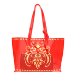 Front view of JEWEL transparent red PVC tote bag with pouch inside