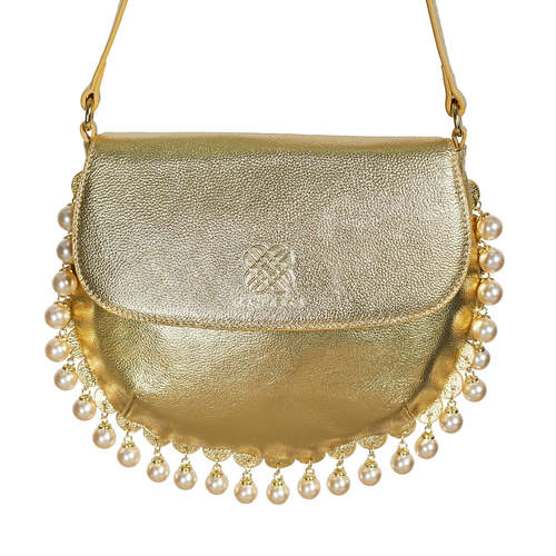 CHARMAINE gold round shoulder bag