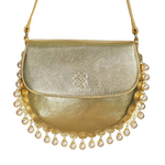 Front view of CHARMAINE round gold shoulder bag with pearls