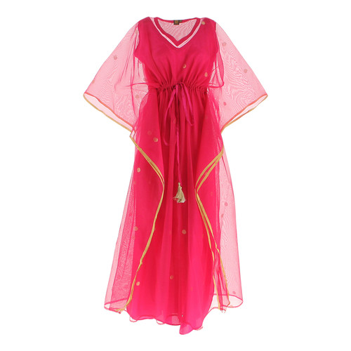 Front view of JEWEL pink kaftan resort maxi dress set