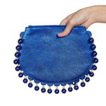 Back view of CHARMAINE round blue clutch bag with pearls