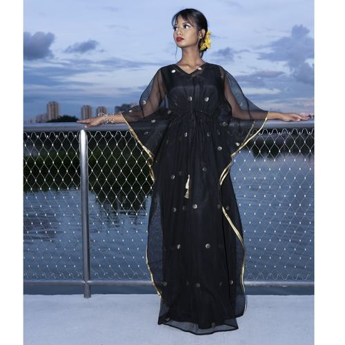 Model wearing JEWEL black kaftan resort maxi dress set