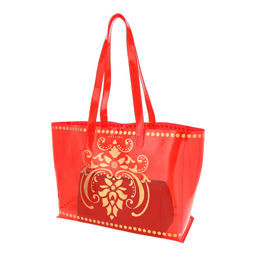 Side view of JEWEL transparent red PVC tote bag with pouch inside