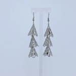 Front view of RAJNI silver tone tier-drop earrings