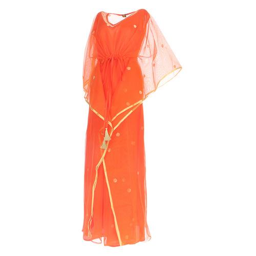 Side view of JEWEL orange kaftan resort maxi dress set