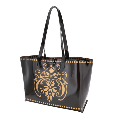 Side view of JEWEL transparent black PVC tote bag with pouch inside