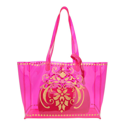 Front view of JEWEL transparent pink PVC tote bag with pouch inside