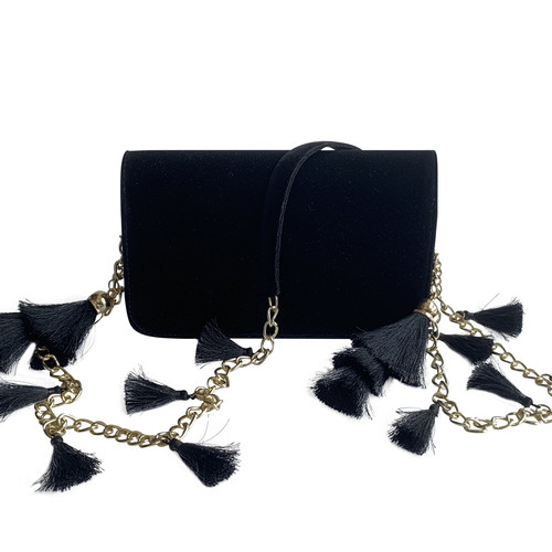 Front view of TASSIE ebony velvet crossbody bag with tassels