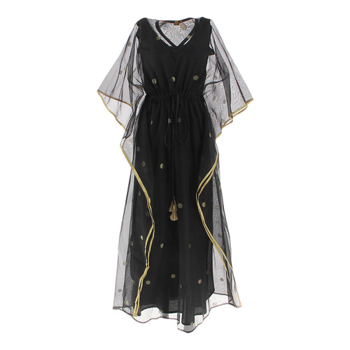Front view of JEWEL black kaftan resort maxi dress set