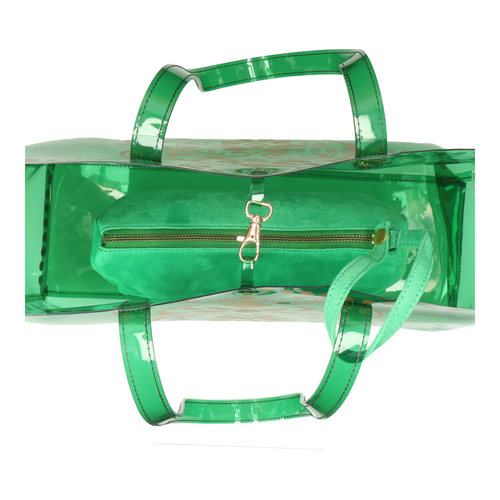 Top interior view of JEWEL green transparent PVC tote bag with removable pouch inside
