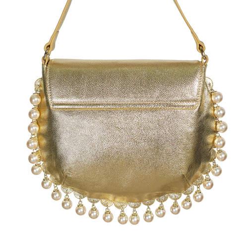 Charmaine gold round shoulder bag