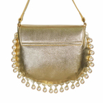 Back view of CHARMAINE round gold shoulder bag with pearls