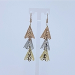 Front view of RAJNI triple tone tier-drop earrings