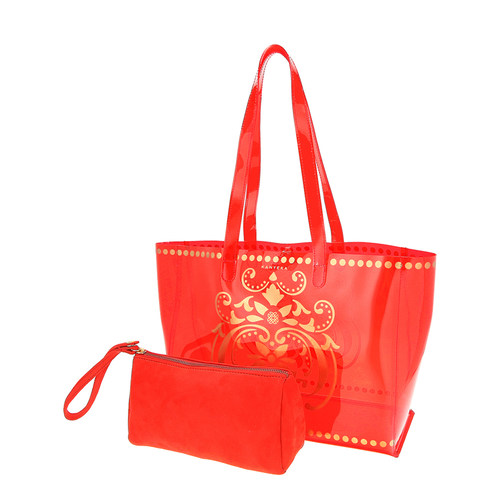 View of JEWEL transparent red PVC tote bag with pouch removed