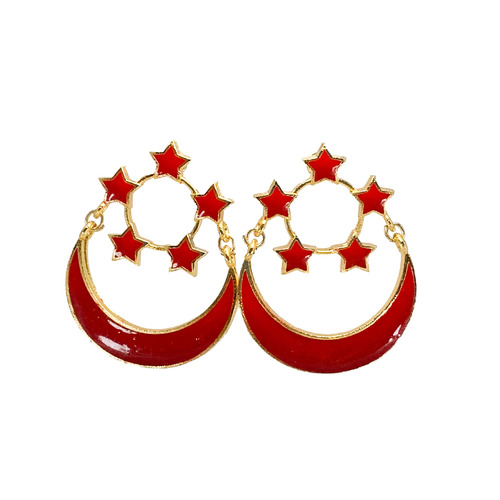 Front view of SINGAPORE ENSIGN earrings.