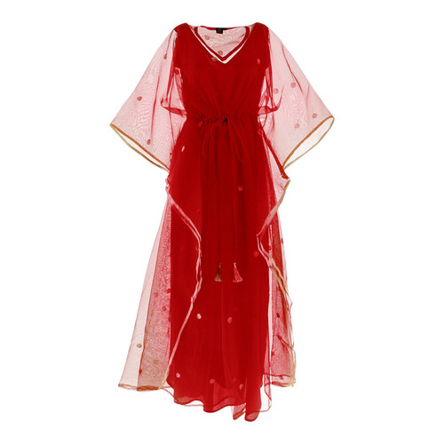 Front view of JEWEL red kaftan resort maxi dress set
