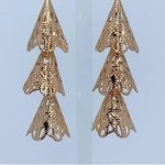 Close up view of RAJNI rose gold tone tier-drop earrings