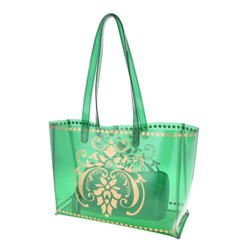Side view of JEWEL transparent green PVC tote bag with removable pouch inside