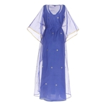 Back view of JEWEL blue kaftan resort maxi dress set