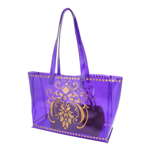 Side view of JEWEL transparent purple PVC tote bag with pouch inside