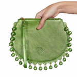 Front view of CHARMAINE round green clutch bag with pearls
