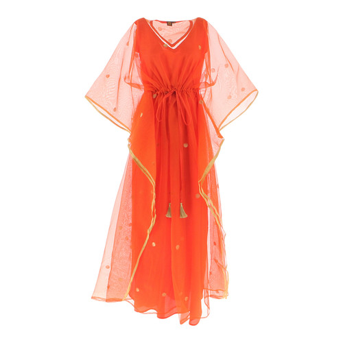 Front view of JEWEL orange kaftan resort maxi dress set