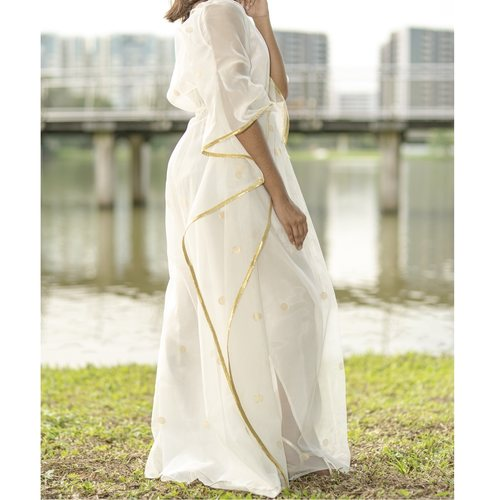 Model wearing JEWEL white kaftan resort maxi dress set