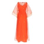 Back view of JEWEL orange kaftan resort maxi dress set