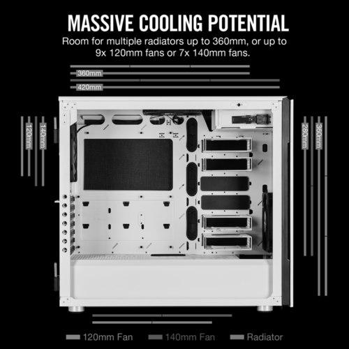 Corsair Carbide Series 678C Low Noise Tempered Glass ATX Case — White