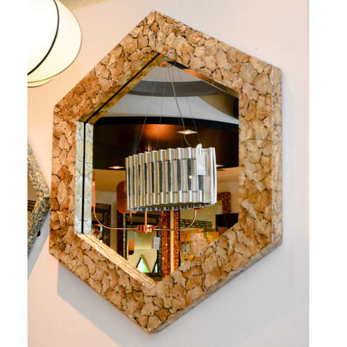 HEXAGONAL MOTHER-OF-PEARL MIRROR