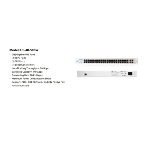 Ubiquiti UniFiSwitch 48-ports POE+ Managed Switch - 500W