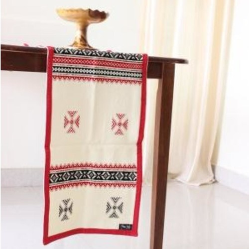 Toda Hand Embroidered Table Runner 49in x 14in