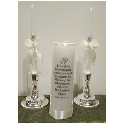 PERSONALIZED UNITY CANDLES - INTERLOCKING HEARTS - Be completely humble and gentle..""