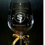 ENGRAVED PERSONALIZED MONOGRAM ON A CRYSTAL WINE GLASS SMGEG-004WC