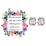 "PERSONALIZED UNITY CANDLES SQUARE FLORAL FRAME - "" These three remain : faith, hope and love.."" (SMGWED2018-003)"