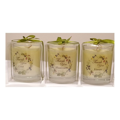 Whimsical Floral Candles Set of 3 Candles