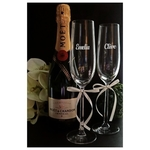 Moet & Chandon Champagne and Personalized 11-inch tall Crystal Flutes Set 2