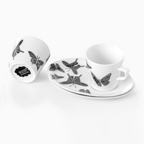 COFFEE COOKIES PLATES SET OF 2 CUPS & 2 PLATE