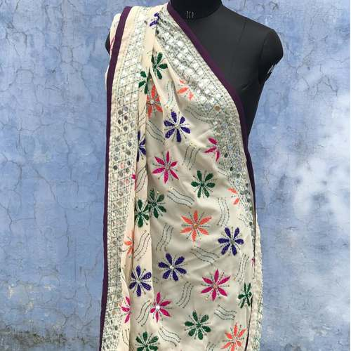 White Georgette Embroidered Dupatta