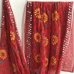 Red Georgette Embroidered Dupatta